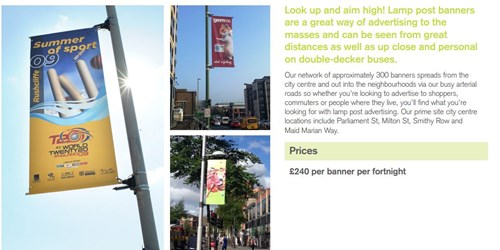 advertise on lamp post banner example